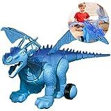 RCTOY Fernbedienung Dinosaurier-Spielzeug-Roboter RC Simulierte Elektro Dinosaurier Lichtprojektion Realistische Dinosaurier-Action-Spielzeug-Modell,Blau -