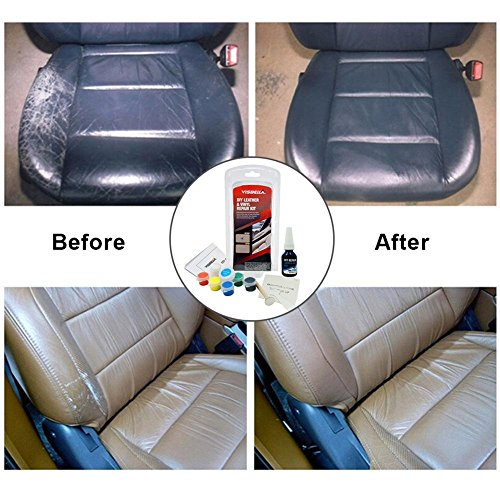 Kit de reparación para líquido de Piel de Vinilo, Kit de restauración para sofás, sofás de Asiento de Coche, Bolsa, cinturón, Zapatos, reparación de arañazos, Manchas y Grietas (5 Cuero)
