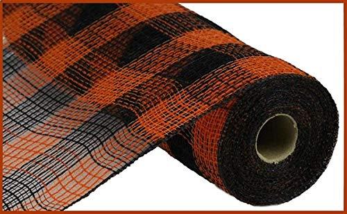 Small Check/Faux Jute Deco Mesh, 10.5 Inch x 10 Yards (Orange, Black)
