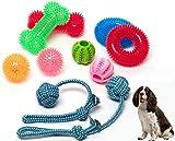 DSA Pets Dog Toy Set - 8 Pcs Squeaky Toys for Small and Medium Dogs + 2 Pcs Bonus Tug Ropes - Spikey Dog Balls - Dog Chew Toys - Non-Toxic TPR Rubber Small Medium Dog Fetch Toys
