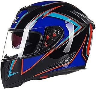 XuBa Men Motorcycle Helmet Four Seasons Double Lens Anti-Fog Full Helmet Black Blue XXL