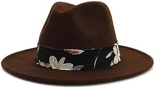 LaVintageエレガントウィンターウールフェドラ 花とベルトの女性と男性のFedora帽子広いつばの帽子パナマ帽子ポップパナマジャズハットシルクハットサイズ56-58CM 女性の女の子の夏の麦わら帽子 (色 : Drak Coffee, サイズ : 56-58)