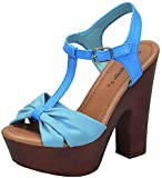 Breckelle's Women's T-Strap Strappy Bow Open Toe Chunky Platform Heel Sandal (7 B(M) US, Blue)
