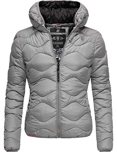 Navahoo Damen Winterjacke Steppjacke mit Abnehmbarer Kapuze Key Color Grau Gr. XL