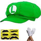 thematys Super Mario Luigi Mütze - Kostüm für Erwachsene & Kinder in 4 Handschuhe und 6X...