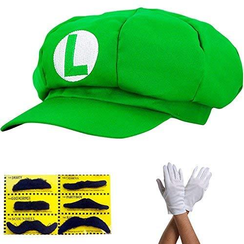 Super Mario Gorra Luigi - Disfraz para Adultos y niños en 4 Colores Diferentes + Guantes y 6X Barba pegajosa Carnaval y Cosplay