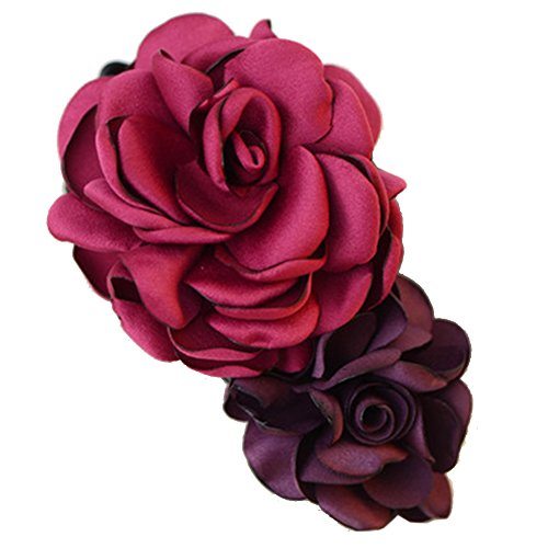 Mixte clip coloré Simulation Fleur Rose Cheveux épingle Fleur Coiffe(rouge)