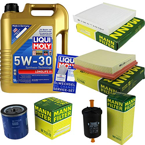 Preisvergleich Produktbild Filter Set Inspektionspaket 5 Liter Liqui Moly Motoröl Longlife III 5W-30 MANN-FILTER Innenraumfilter Kraftstofffilter Luftfilter Ölfilter