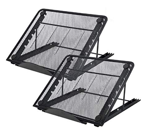 2PCS Metal Mesh Ventilated Adjustable Laptop Stands Computer Notebook Holder Stand Riser Compatible with Apple MacBook Air Pro Dell XPS HP Samsung Lenovo More Laptops up to 19'- Black