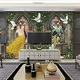 Papel tapiz mural fotográfico nórdico minimalista columna romana bosque pavo real flor vides papel pintado pintado