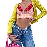 Top Corto con Estampado de Mariposas para Mujer Camiseta sin Mangas con Tirantes Sexy de Encaje Camiseta sin Mangas con Cuello en V