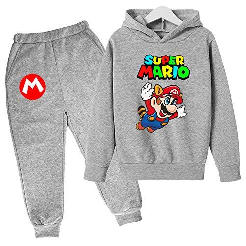 IFITBELT Jungen Mädchen Mario Druck Hoodie Pullover und Hosen 2 Sets Kinder Pulli Sweatshirt Größe 100-160 (120cm-130cm,set13)