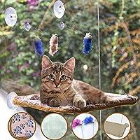 AWOOF ペットキャットハンモックウィンドウパーチセット、ブランケットとインタラクティブフェザーキャットおもちゃ、ビッグキャットウィンドウベッドサニーシート、子猫用耐久性のある安定したキャットシェルフ