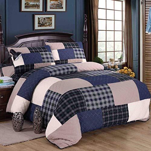 AHJSN Dreiteilige Bett Baumwolle Europa und Amerika Gefärbte Hand Patchwork Bettdecke Für Zuhause (Farbe: Blau) Blau