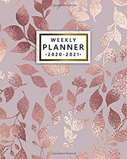 2020-2021 Weekly Planner: Pretty Rose Gold Two Year Weekly Schedule Agenda & Planner - 2 Year Organizer with To-Do's, U.S. Holidays, Inspirational Quotes, Vision Board & Notes - Faux Metallic Leaves