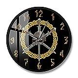 Casco Vikingo con Tres Espadas Cruzadas Reloj de Pared Impreso Diseño Moderno para Sala de Estar Estilo Celta Decoración del hogar Reloj silencioso-Marco de Metal