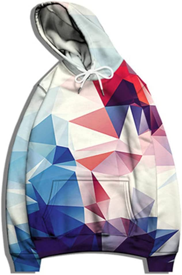 Mens 3D Hoodie,Unisex Hoodies Pullover Sweatshirt Fashion Blue Red Geometry Triangle Prismatic 3D Print Casual Loose Long Sleeve Graphics Hoodies Jumper Tops Blouse with Pocket,X,Large