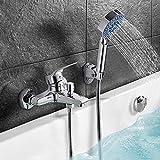 SDFD Baño del baño del Mezclador Externo del Grifo con la Ducha de 5 Modelos con la Ducha de la Mano y la Ducha y la Manguera Flexible para la Ducha cromada/de Plata