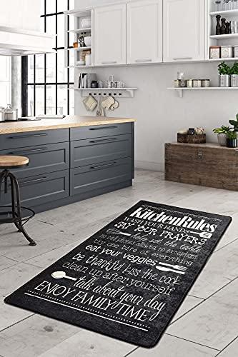 Alfombra de cocina antideslizante, de gel, cómoda, para cocina, con texto impreso en negro, lavable (negro, 80 x 200 cm)