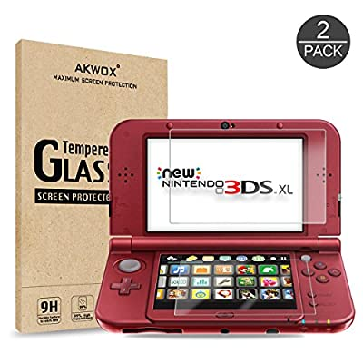 AKWOX Screen Protector for New 3DS XL and Nintendo 3DS XL, Anti-scratch Glass Protector for Top Screen (2 Pieces) + Protective Film for Bottom Screen (2 Pieces)