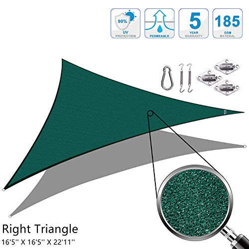 Cool Area Right Triangle 16'5' x 16'5' x 22'11' Sun Shade Sail with Stainless Steel Hardware Kit for Patio in Color Sandx