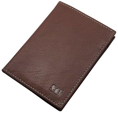 Cuero de búfalo Tarjetero para documento de Identidad y Tarjeta de crédito 10 Bolsillos MJ-Design-Germany (Marrón)