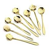 Canghai Petal Cuchara de té de café Set de cuchara, 8 cucharas de postre de acero inoxidable, linda sinfonía dorada colorida taza de café Sakura (Titanio)