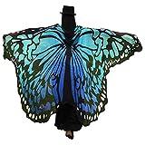 GRACIN Halloween Butterfly Wings Shawl Soft Fabric Fairy Pixie Morpho Costume (78'x50', String Ties, Blue)