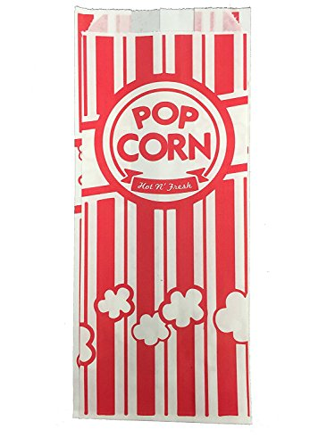Carnival Style Paper Popcorn Bags, 50 1oz bags, Red & White Striped, Movie Theater Popcorn Bags