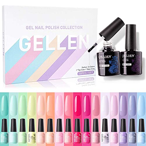 Gellen 16 Colors Gel Nail Polish Kit, With Top&Base Coats Happy Rainbow Collection Vibrant Bright Neon Tones- Trendy…