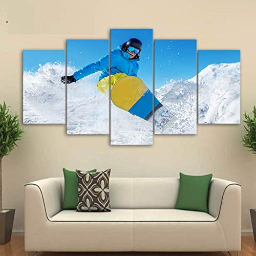 WEDSA Mural Canvas Painting Poster Decoración del hogar HD Impreso 5 Piezas Canvas Art Ski Snow Mountain Painting Sport Poster Wall Pictures for Living Room 30x40cmx2 30x60cmx2 30x80cmx1 Sin Marcos