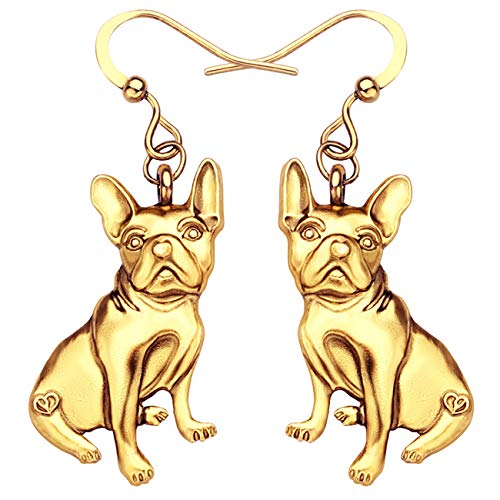 WEVENI Alloy Antique Gold And Silver Plated French Bulldog Earrings Dangle Drop Pet Jewelry for Girls Women Ladies Gift (gold-plated-stainless-steel)