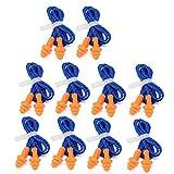 Tapones para los oídos SENRISE con cable de silicona suave, reutilizables, protección auditiva para dormir, trabajar, nadar, aprender (10 pares, azul)