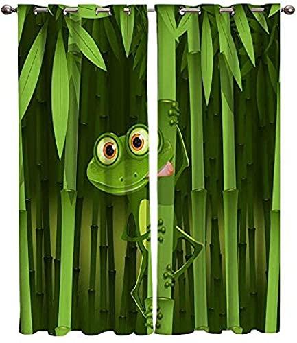 LUOWAN Cortina Opaca Microfibra Infantil - 264x210 cm - Verde Bosque de bambú camaleón - 95% Opaca Cortina aislantes de frío y Calor Decorativa con Ojales Estilo para Salón Habitación y Dormitorio