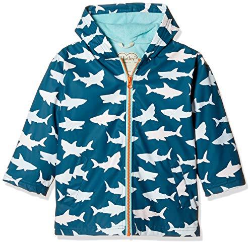 Hatley Jungen Splash Jackets Regenjacke, Blau (Colour Changing Bluegreat White Shark 400), 12 Jahre