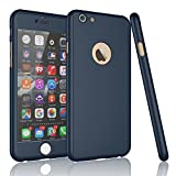 Tekcoo for iPhone 6S Case, Tekcoo iPhone 6 Case, [T360 HY] Ultra Thin Full Body Coverage Protection Scratch Proof Hard Slim Hybrid Cover Shell with Tempered Glass Screen Protector Skin [Dark Blue]