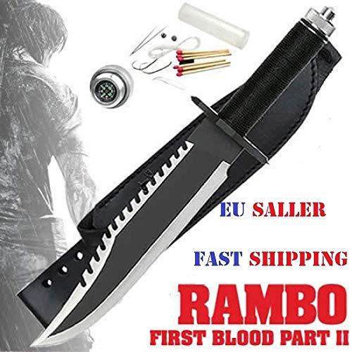 Rambo Deluxe II - Cuchillo de caza con funda de piel y cinturón