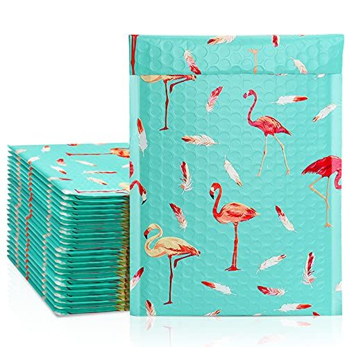 Metronic 25Pcs Poly Bubble Mailers, 6X10 Inch Padded Envelopes Bulk #0, Bubble Lined Wrap Polymailer Bags for Shipping/ Packaging/ Mailing Self Seal -Flamingo