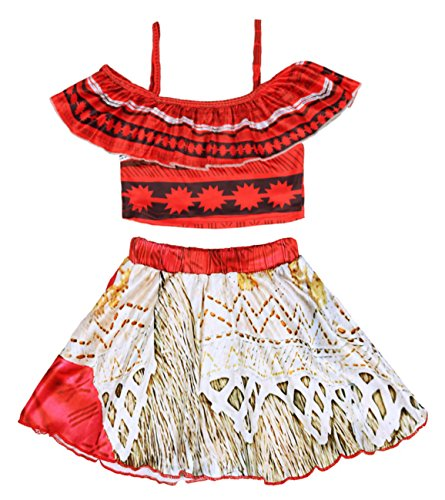 Wocau Baby Girls Princess Moana Swimsuit Two Piece Off Shoulder Bikini Set (120/4-5Y, Red 0228)