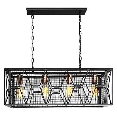 OYIPRO Farmhouse Hanging Fixture Retro Ceiling Light, 4 Lights Industrial Kitchen Island Light Chandelier Rectangular Rectangle Vintage Metal Caged Guard Pendant Lighting