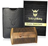 Striking Viking Wooden Beard Comb & Black Case - Premium Dual Sided Sandalwood Beard Comb with Fine & Coarse Teeth - Pocket Sized & Anti-Static - Perfect for Use with Balms and Oils