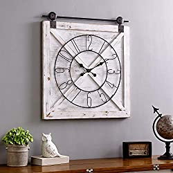 FirsTime & Co. Farmstead Barn Door Wall Clock, 29H x 27W, Whitewash, Metallic Gray, Black