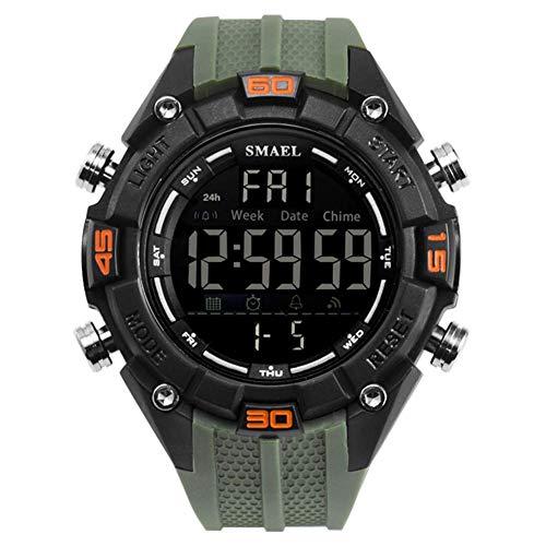 AYDQC Mens Reloj Deportivo Digital a Prueba de Agua al Aire Libre Pantalla LED Relojes del dial Grande de la luz Trasera Casual los Hombres del Reloj de Goma fengong (Color : Green)