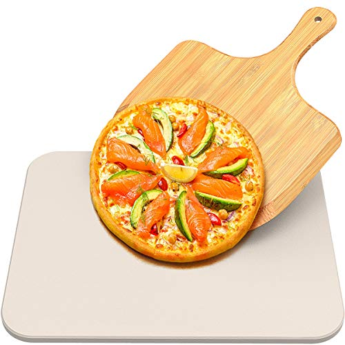 Pizza Stone for Oven and Grill, Baking Stone for Best Crispy Crust Pizza, Free Bamboo Pizza Peel Paddle, Durable and Safe Pizza Stone for Grill, Thermal Shock Resistant Cooking Stone (15' X 12')