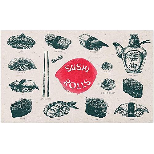 Not Applicable Küchenmatte,Türmatte,Premium Badematte,Badezimmerteppich,Food Fußmatte,Japanische Kultur Sushi Food Elements Essstäbchen Druck,Dekorative Bodenmatte,50X80CM,Coconut Dark Coral