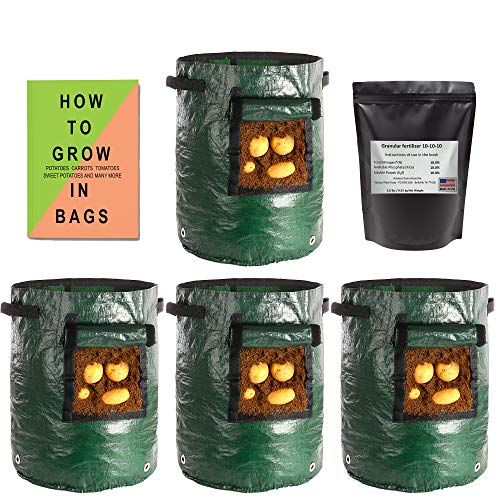 (4 Pack) Potato Grow Bags 10 Gallon Heavy Duty + Made in USA Texas All Purpose Fertilizer + Book: How to Grow in Bags(Covers Many Veggies & Fruits, Simple Steps with Drawn Illustrations) Grow Bag kit