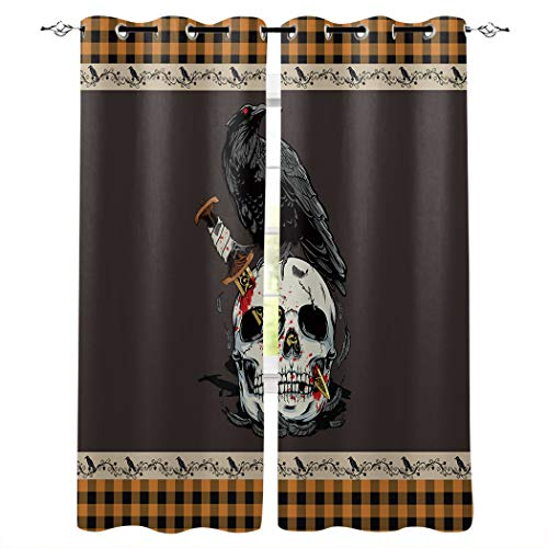 OneHoney Blackout Curtains for Bedroom Halloween Skull Knife Crow Grommet Thermal Insulated Window Treatments Orange Black Checker Home Decoration Drapes Set of 2 Panels, 40x63inx2