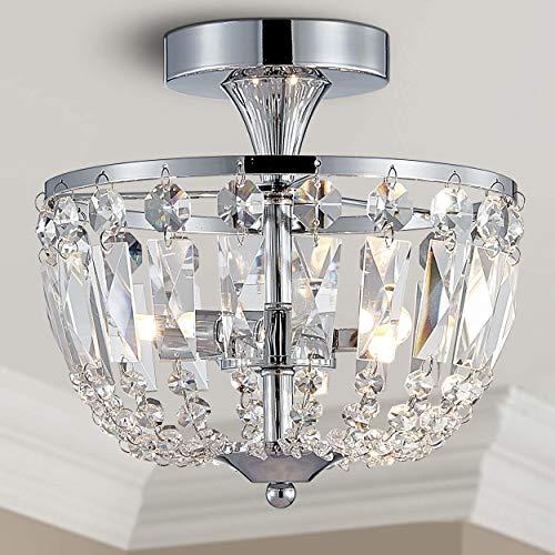 Bestier Moderne Chrom Kristall Halbbündig Kronleuchter Beleuchtung LED Deckenleuchte Lampe für Esszimmer Badezimmer Schlafzimmer Wohnzimmer 3 G9 Lampen