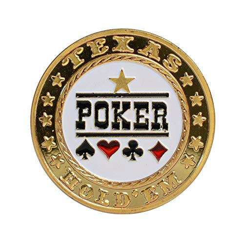 TX GIRL Texas Hold'em Poker Coins with Plastic Cover Poker Card Guard Protector Metal Token Coin Casino Poker Dealer Button (Color : Poker)
