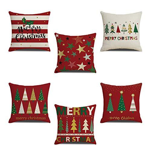 certylu Suministros para decoración del hogar, 6 fundas de almohada con diseño de estrellas de árbol de Navidad